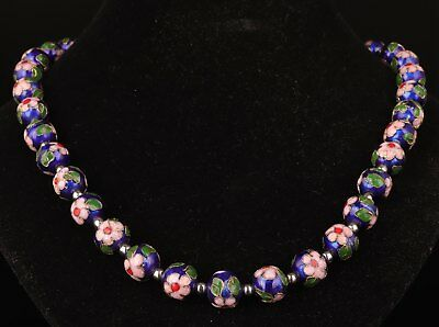 Old Rare Antique Chinese Handmade Cloisonne Beads Necklace Gift Collection