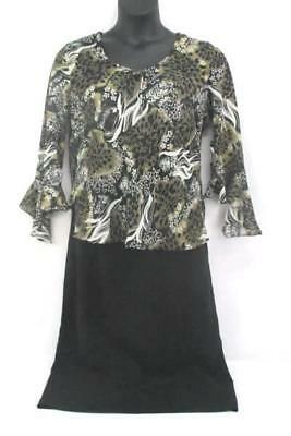 GNW Sheer Blouse Floral Print Bell Sleeve Sz L Positive Attitude Black Skirt 14