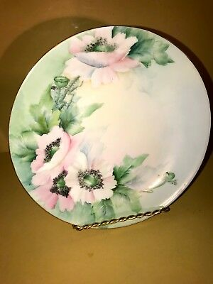 "Vintage Limoges Plate 8 1/2""   Hand Painted Pink Flowers Garden Decorator home"