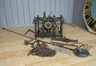 Antique Turret Clock & Large Pendulum - Old Clock Mechanism