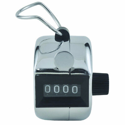 Stainless Steel Tally Counter Practical Handheld Digit Number Lap Counter-Silver