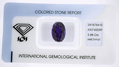 Natural Amethyst 3,86ct Deep Purple Oval Mix Cut IGI Certificat sealed
