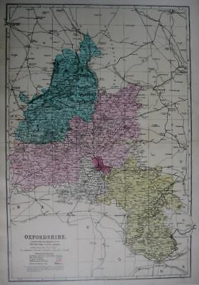OXFORDSHIRE OXFORD  ANTIQUE MAP WITH HAND COLOUR WASH BY GEORGE BACON  c1881