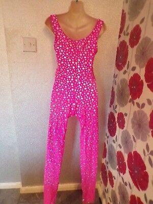QUALITY  VINTAGE  70s PINK BLING SPANDEX  ALL IN ONE DESIGN SIZE 8 /10