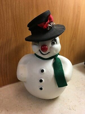 Vintage 1950's Paper Mache SNOWMAN CANDY CONTAINER Christmas Figure
