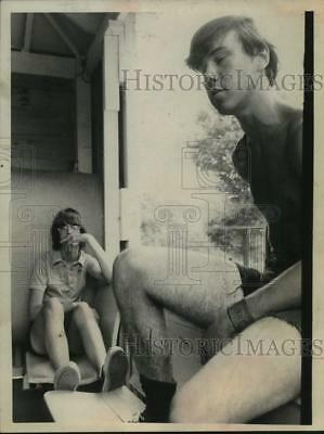 1973 Press Photo David Mandy with Robert Garrow in Witherbee, New York
