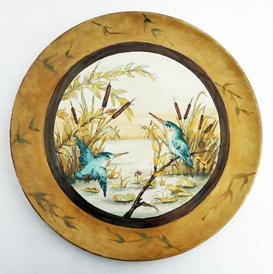 AESTHETIC MOVEMENT POTTERY CHARGER Kingfishers BROWN WESTHEAD & MOORE c1885