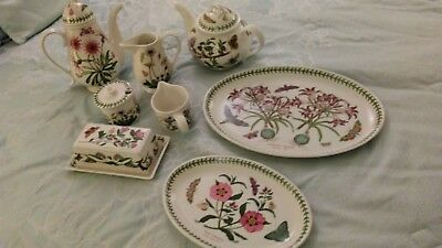PORTMEIRION BOTANIC GARDEN CHINA creamer, sugar, butter, tea pot, carafe, platte