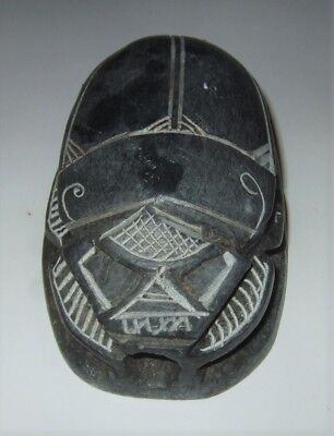 "Egyptian Stone Scarab Egyptian Scarab Vintage Stone Scarab 4"" Great Look"