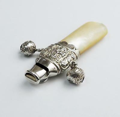 ANTIQUE SILVER Mother of Pearl WHISTLE BABY RATTLE c1910