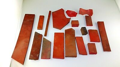 Antique  Old Amber Bakelite Catalin Gebetskette Block Rods  Red Lot 660 Gr