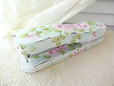 MOST ROMANTIC PINK ROSE STAPLER EVER byDAS hp hand painted chic shabby vintage