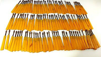 Antique  Old Amber Bakelite Catalin Gebetskette Block Rods manikür yellow 716 Gr