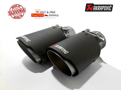 """2 X Universal 3.5"""" Akrapovic Style Dry Carbon Fibre Exhaust Tip Tailpipe Steel"""