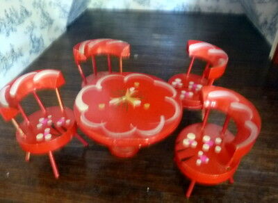 Vintage Mid Century Hand Painted TABLE CHAIRS Dollhouse Miniature FROM MUSEUM