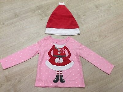Girls Christmas Top And Hat 9-12 Months