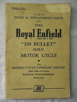 ROYAL ENFIELD 1961 350 BULLET SPARE & REPLACEMENT PARTS Booklet