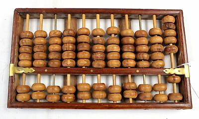 Large Vintage/Retro WOODEN ABACUS With Brass Inlays - H51