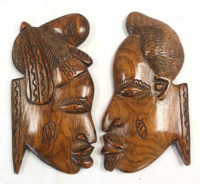 Vintage Hand Carved Wooden Face/Silhouette WALL PLAQUES - Wall Art/Decor - H51
