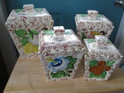 Vintage Four Piece Ceramic Canister Set with Different Designs on Each Side