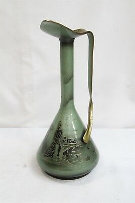 Art Deco Pal Bell Israel Twisted Handle boats Fisherman bronze Brass Ewer RARE