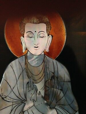 antique burmese mother of pearl buddha on laquered panel