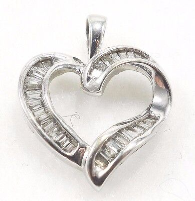 10k Solid Gold Diamond Heart Pendant Sparkle Sweetheart Love Gift Free Shipping