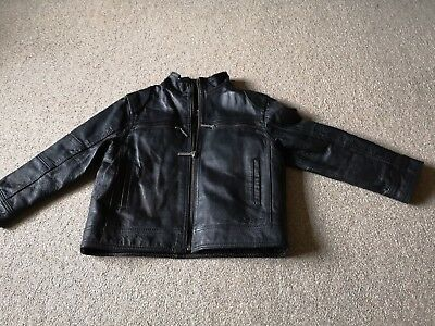 Ben Sherman Genuine Black Leather Jacket Age 5-6 Years Vgc!