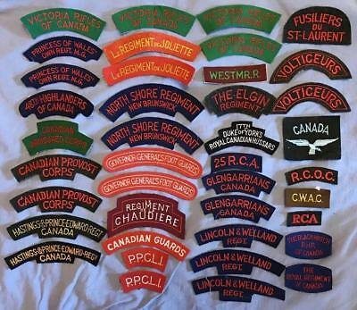 Large lot of Canadian Army Shoulder Titles, Patch King Reproductions