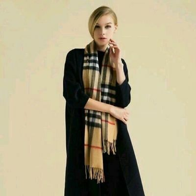 100% Cashmere Brand New Authentic ₁Burberry₁ Scarf Big Check Camel Black White