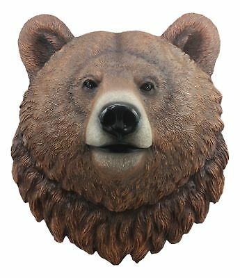 "Large Brown Bear Head Wall Decor 3D Plaque 15.5""Tall Plaque Figurine"
