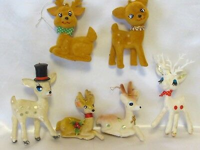 Lot of 6 Vintage Christmas Ornaments Felt Flocked Reindeers