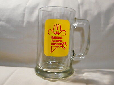 "McDonald's "" Be Daring First & Different"" Glass Mug 1980's Vintage"