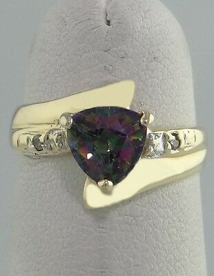 LADIES 10K YELLOW GOLD 6mm TRILLION MYSTIC TOPAZ ROUND DIAMOND BAND RING 10mm