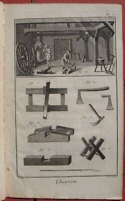 """1765 Set of Seven Diderot Engravings - """"Charron"""" - Cart and Wheel Manufacturing"""