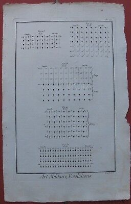 """1765 Six DIDEROT Engravings - """"Art Militaire, Evolutions"""" - Infantry Formations"""