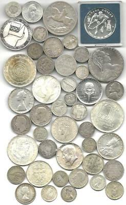 """World (45) Forty Five Old Silver Coins  #4900 """"great Big Lot & Free Usa Ship"""""""