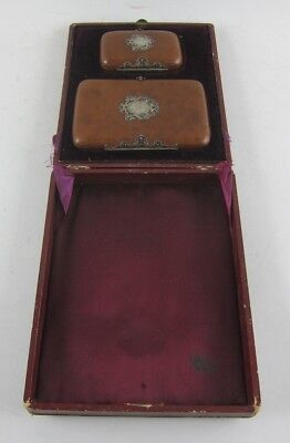 Stunning Antique Leather & Sterling Calling Card Case & Change Purse in Box