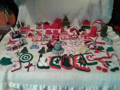 Large Lot Handmade Crochet Christmas Tree Ornaments Package Toppers