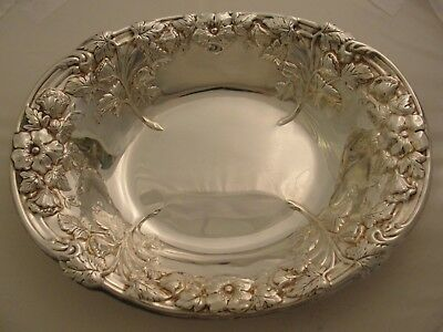 Vintage Ornate Sheffield Silver Plate Bowl W/ Flowers & Leaves; Made In Usa