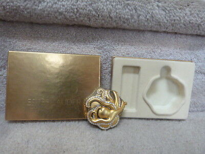 """WHIMSICAL Gold & Crystal Estee Lauder Octopus Lucidity  Makeup / Compact 2.5"""""""