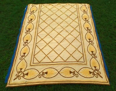 "Vintage Plush Yellow & Brown Fall Chenille Bedspread Craft Cutter  88"" x 107"""