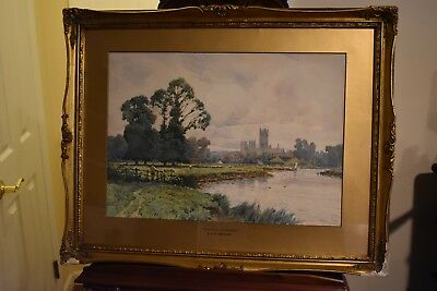 """Beautiful Watercolor """"Canterbury Cathedral"""" by Alfred Fontville De Breanski, Jr."""
