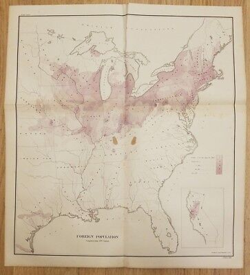 Original 1872 Foreign Population Antique Map Immigrants/Immigration US Old