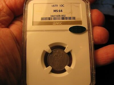 1879 (rare date) SEATED LIBERTY DIME **NGC MS 64 + CAC** VERY PQ COIN!!