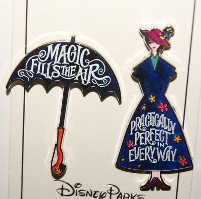 Disney Mary Poppins Magic fills the Air Practically Perfect 2 Pin Set