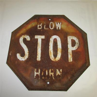 """Vintage Metal 18"""" Octagon """"STOP BLOW HORN"""" Sign with 6"""" Raised Letters"""