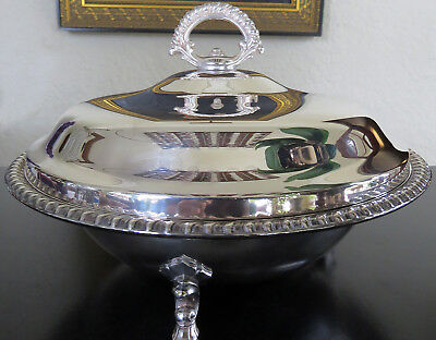 Vintage Wm. ROGERS Silverplate FOOTED VEGETABLE BOWL PYREX INSERT- 3 pcs.