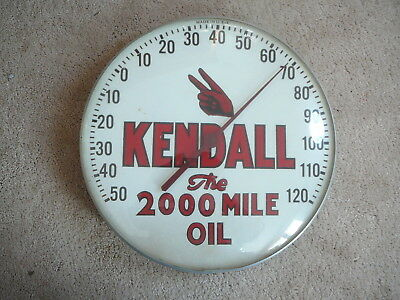 """KENDALL the 2000 MILE OIL Vintage 1950 ROUND 12"""" USA ADVERTISING THERMOMETER  VG"""