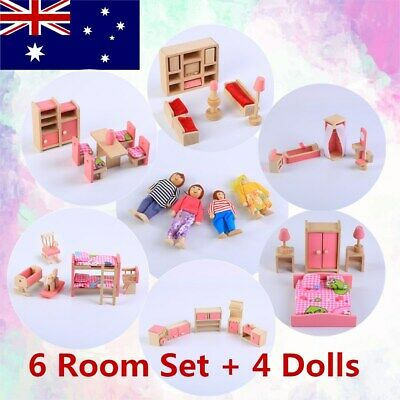 Wooden Furniture Dolls House Miniature 6 Room Set & 6 Dolls For Kid Pretend Play